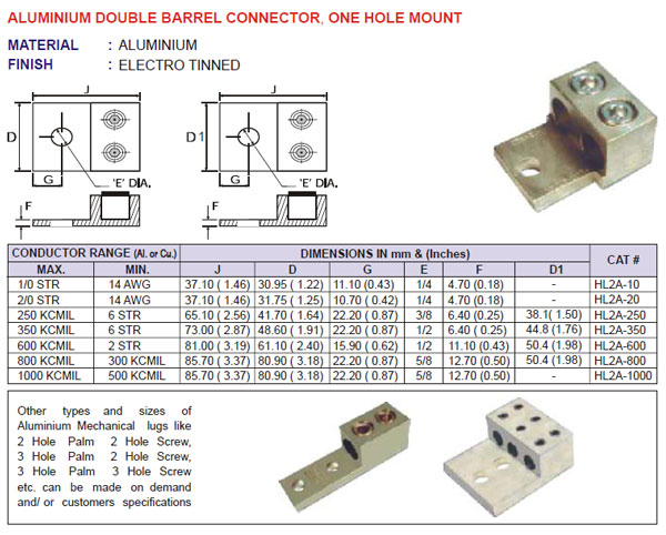 Aluminium Double Barrel Connector, Two Hole Mount